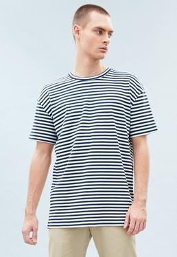 White&Navy Premium Striped T-shirt