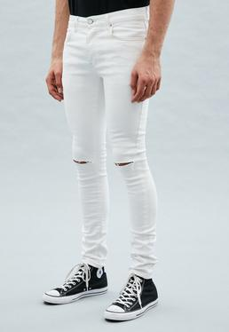White Super-Skinny Slash Knee Cordoza Jeans