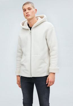 Cream Oversized Hooded ZipThrough Borg Jacket
