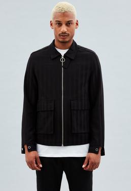 Black Striped Harrington Jacket
