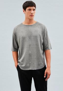 Grey Oversized Faux Suede T-Shirt