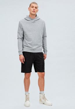 Black Regular Faux Suede Shorts