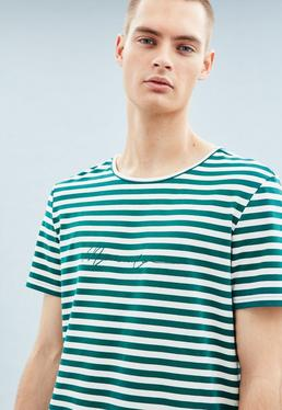 Green Striped Embroidered Signature T-Shirt