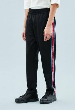 Black Signature Tape Tricot Knit Tracksuit Bottoms