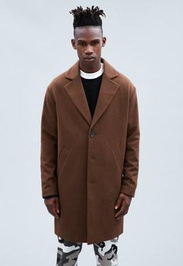 Brown Wool Relaxed Crombie Coat