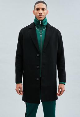Black Relaxed Wool Crombie Coat