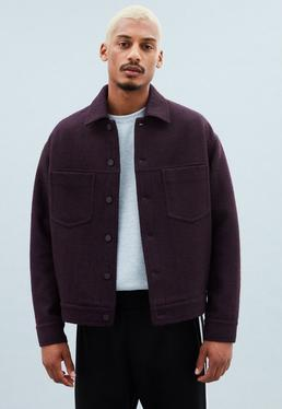 Burgundy Wool Dropped Shoulder Trucker Jacket