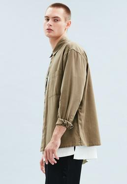 Khaki Relaxed Regular Cotton Twill Shirt