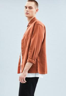 Brown Relaxed Regular Cotton Twill Shirt
