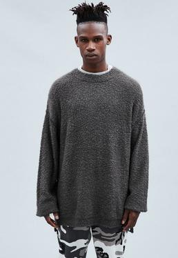 Grey Dropped Shoulder Crew Neck Distressed Jumper