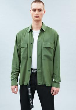 Green Smart Utility Button Front Shirt