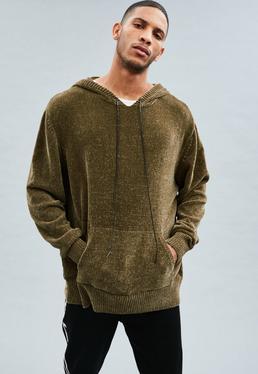Khaki Chenille Oversized Knitted Hoodie