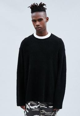 Black Oregon Crew Neck Boucle Jumper