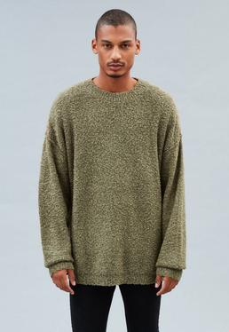 Sage Green Drop Shoulder Knitted Sweatshirt
