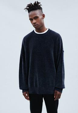 Navy Montana Dropped Shoulder Chenille Jumper