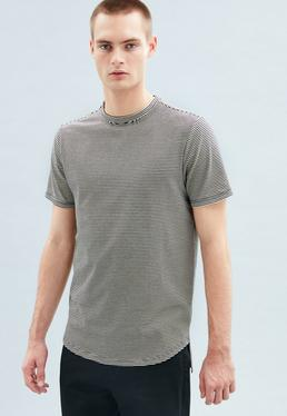 Striped Longline Curved Hem Striped T-Shirt