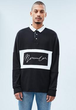 Black Signature Long-Sleeved Rugby Top