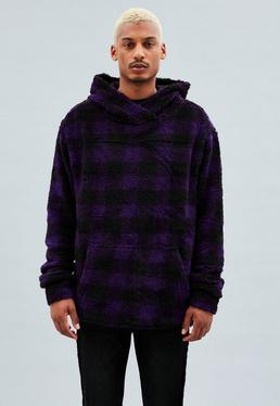 Purple Regular Checkered Overhead Borg Hoodie
