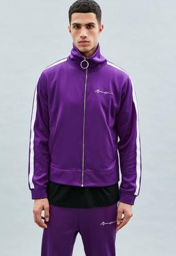 Purple Tricot Knit Zip-Through Track Top