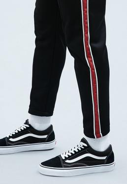 Black Tricot Knit Tracksuit Bottoms