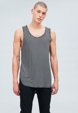 Black Regular Stepped Hem Striped Jersey Vest