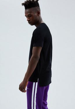 Black Regular Longline Stepped Hem T-shirt