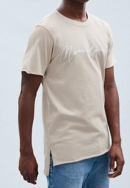 Beige Signature Raw Edge T-shirt