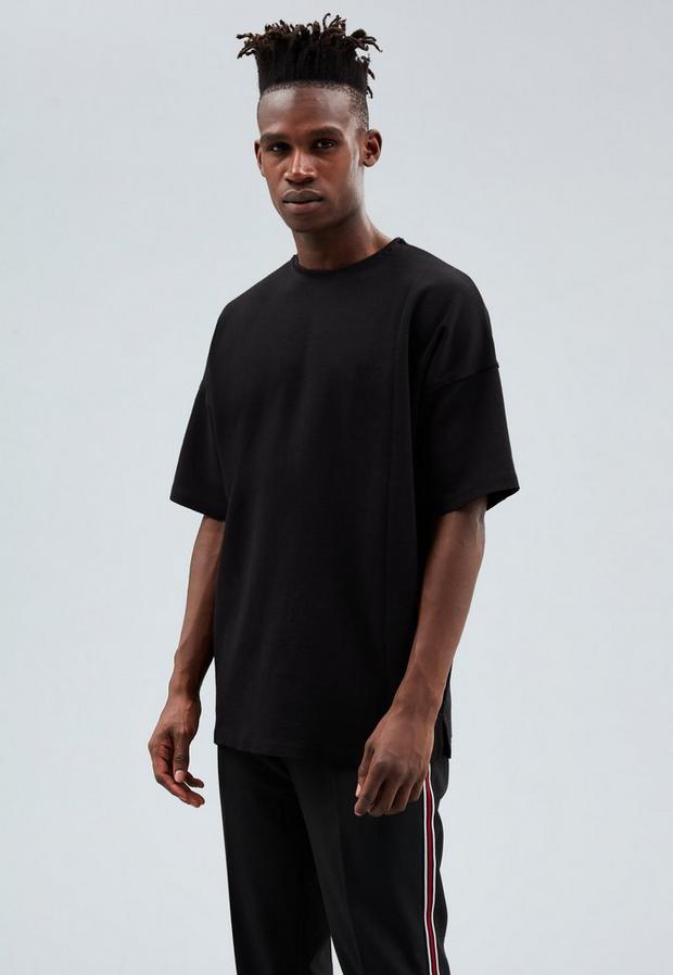 Black Dropped Shoulder T-Shirt, Men's, Size L, Black