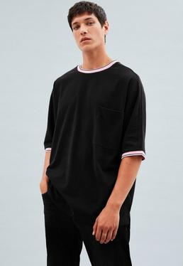 Black Extreme Oversized Stepped Hem T-Shirt