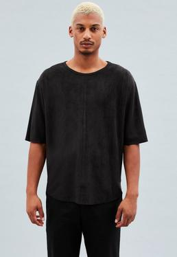 Black Oversized Faux-Suede T-shirt