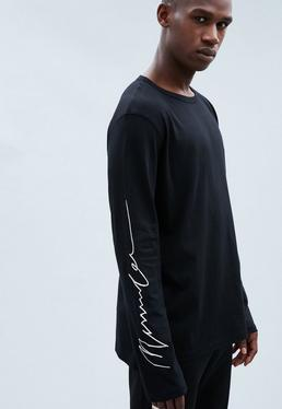 Black Regular Signature Arm Long-Sleeved T-shirt
