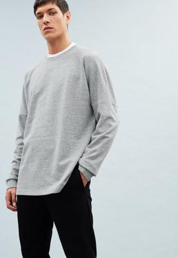 Grey Crew Neck Dropped Shoulder Sweatshirt