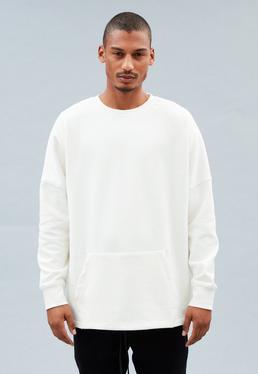 Off-White Longline Crew Neck Dropped Shoulders Sweatshirt