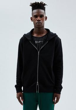 Black Regular Zip-Through Hoodie