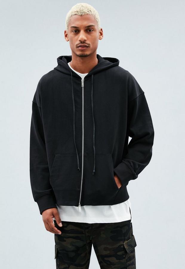Black Dropped Shoulder Hoodie, Men's, Size M, Black