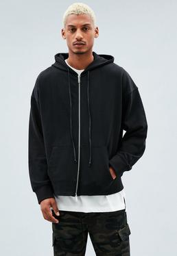 Black Zip-Through Dropped Shoulder Hoodie