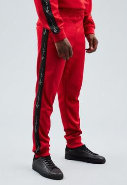 Red Longline Tricot Knit Tracksuit Bottoms