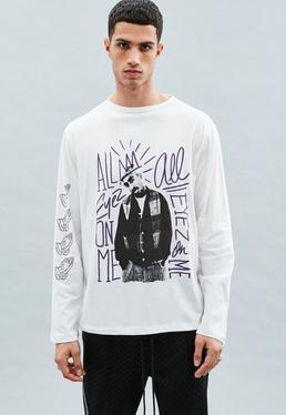 White Tupac Graphic Long Sleeved T-Shirt