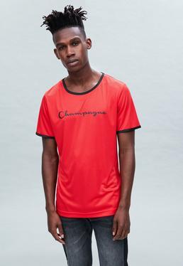 Red Regular Champagne Print Striped T-Shirt