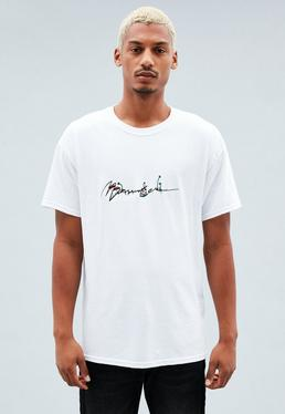 White Embroidered Magic Mushroom Signature T-shirt
