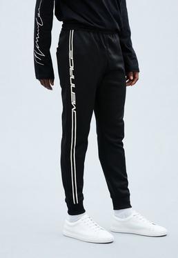 Black Tricot Knit Mennace Race Stripe Tracksuit Bottoms