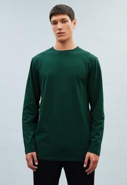 Green Regular Long-Sleeved Striped T-Shirt