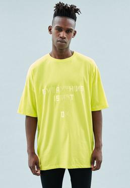 Yellow Dropped Shoulder Embroidered T-Shirt