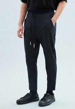 Navy Pinstriped Smart Joggers