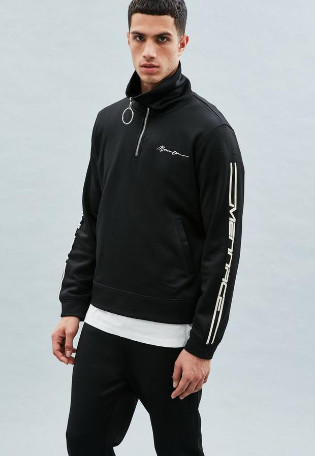 Black Half-Zip Tricot Knit Tracksuit Top, Men's, Size M, Black