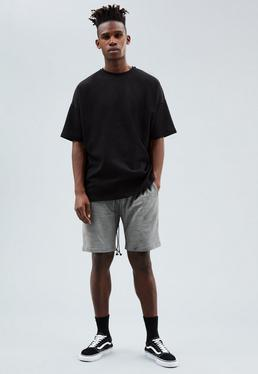 Grey Regular Faux Suede Shorts