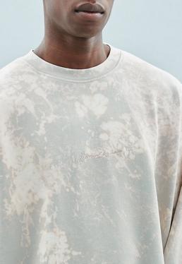 Grey Premium Bleach Washed Crew Neck Sweatshirt