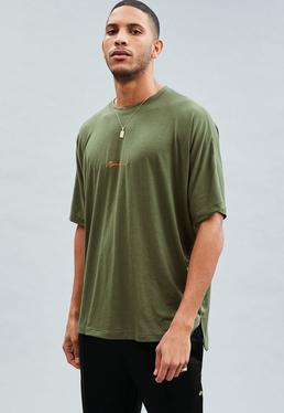 Khaki Signature Dropped Shoulder T-Shirt