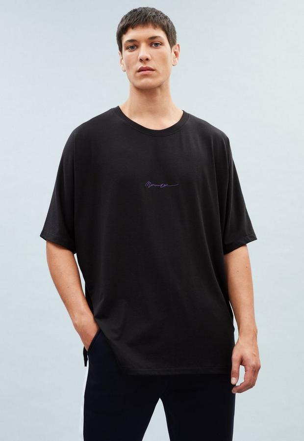 Black Dropped Shoulder T-Shirt, Men's, Size XL, Black