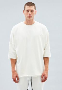 Off White Relaxed Three-Quarter Sleeve Sweatshirt
